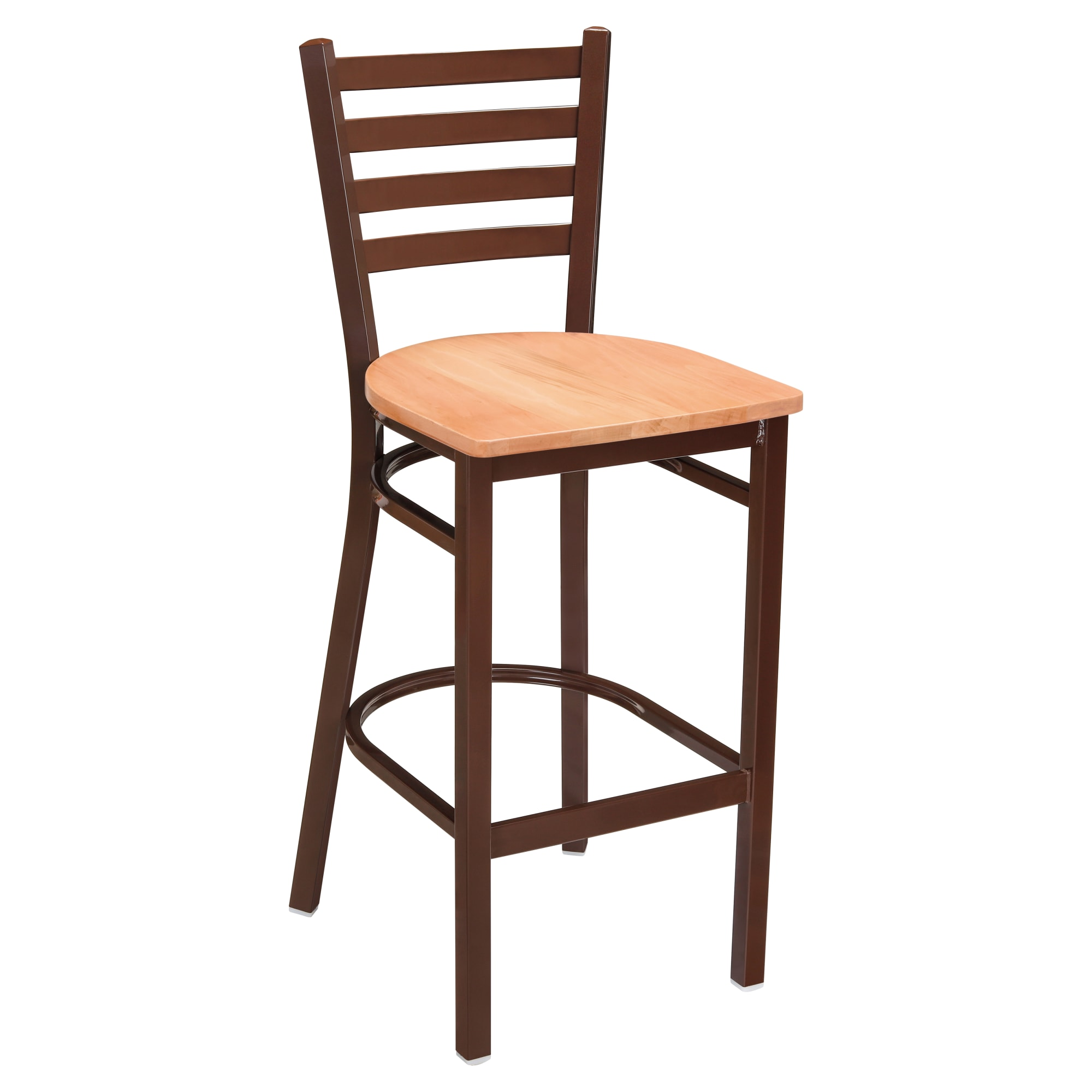 Ladder Back Metal Bar Stool With Brown Finish with Ladder Back Metal Bar Stool With Brown Finish