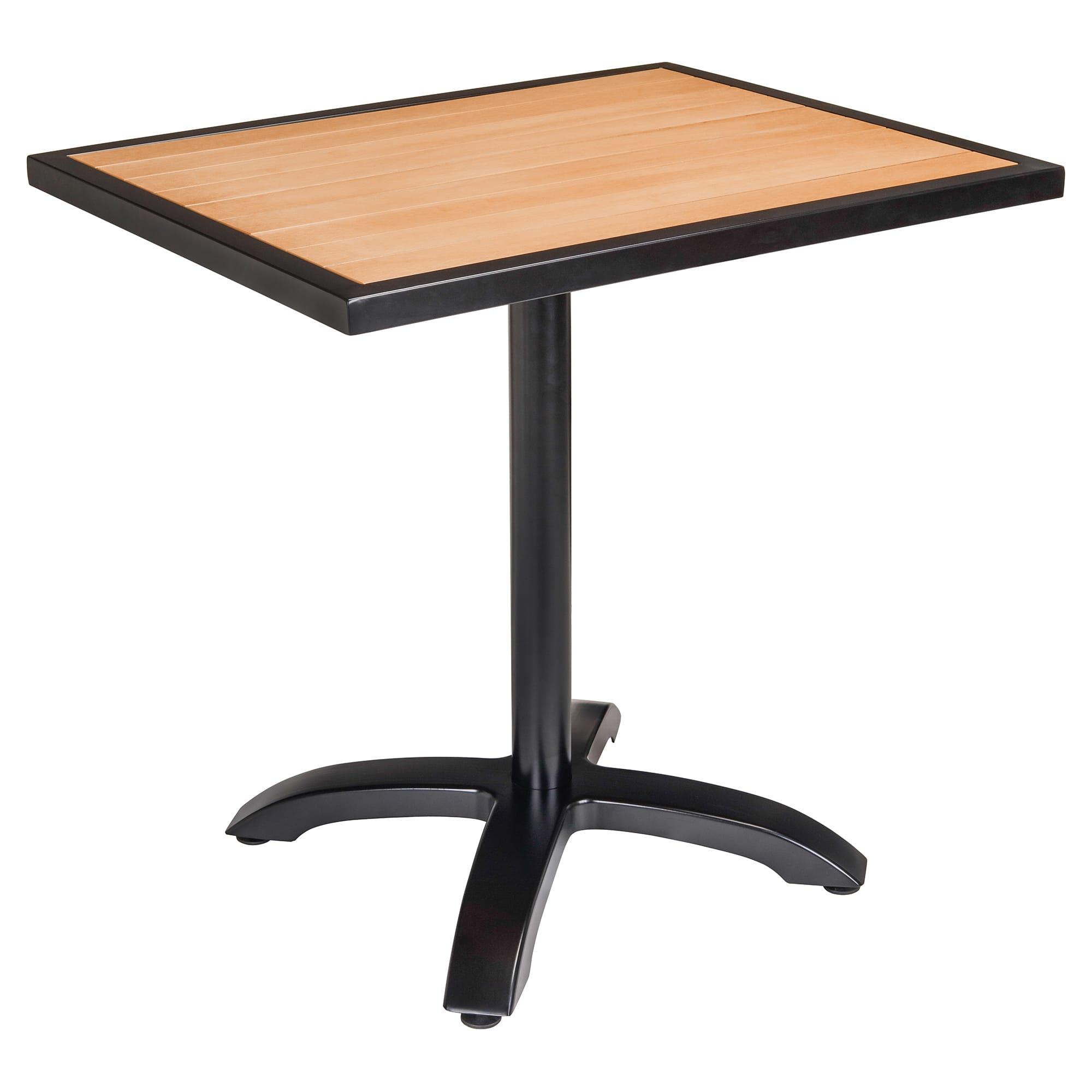 Black Aluminum Patio Table with Plastic Teak Top with Black Aluminum Patio Table with Plastic Teak Top