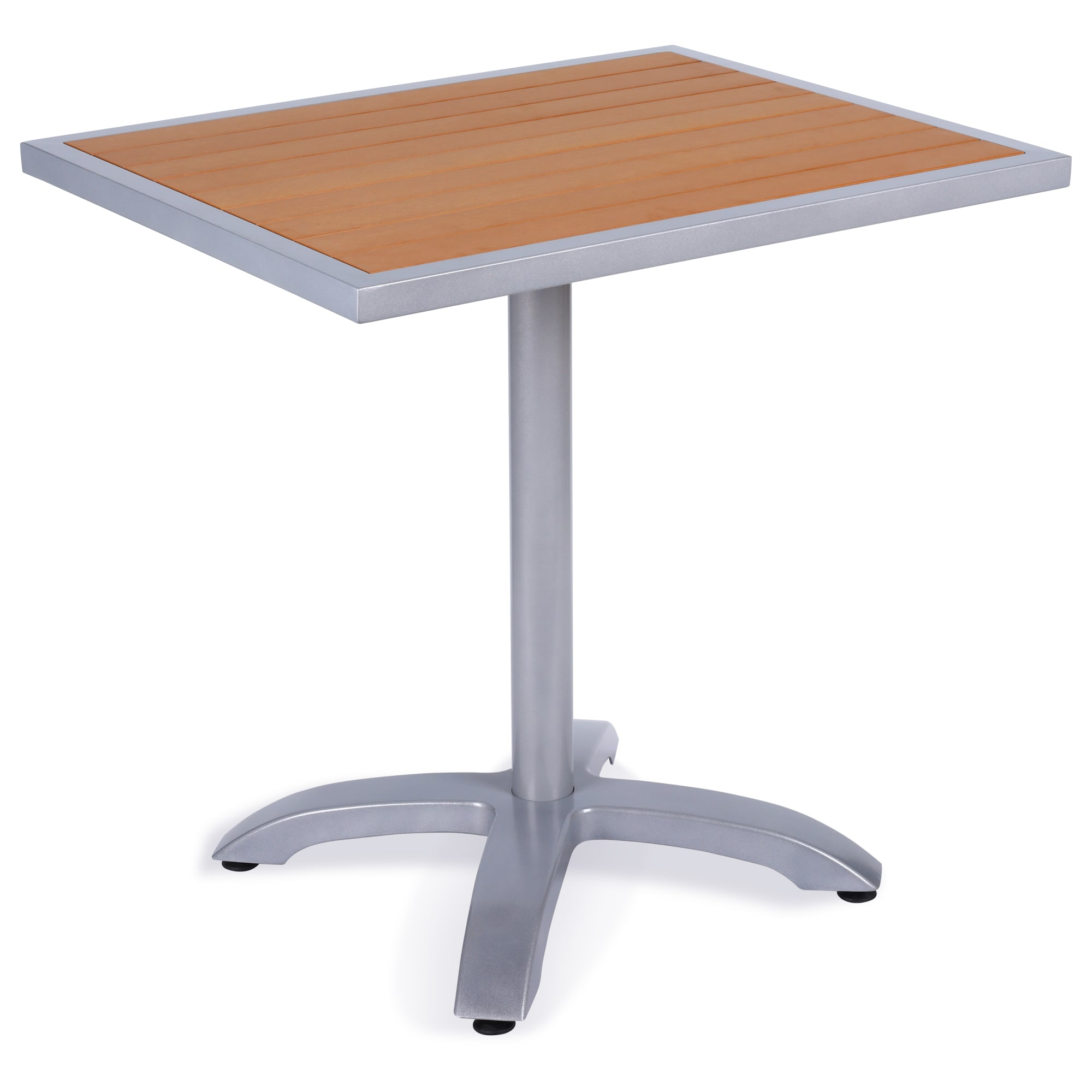 Aluminum Patio Table with Plastic Teak Top