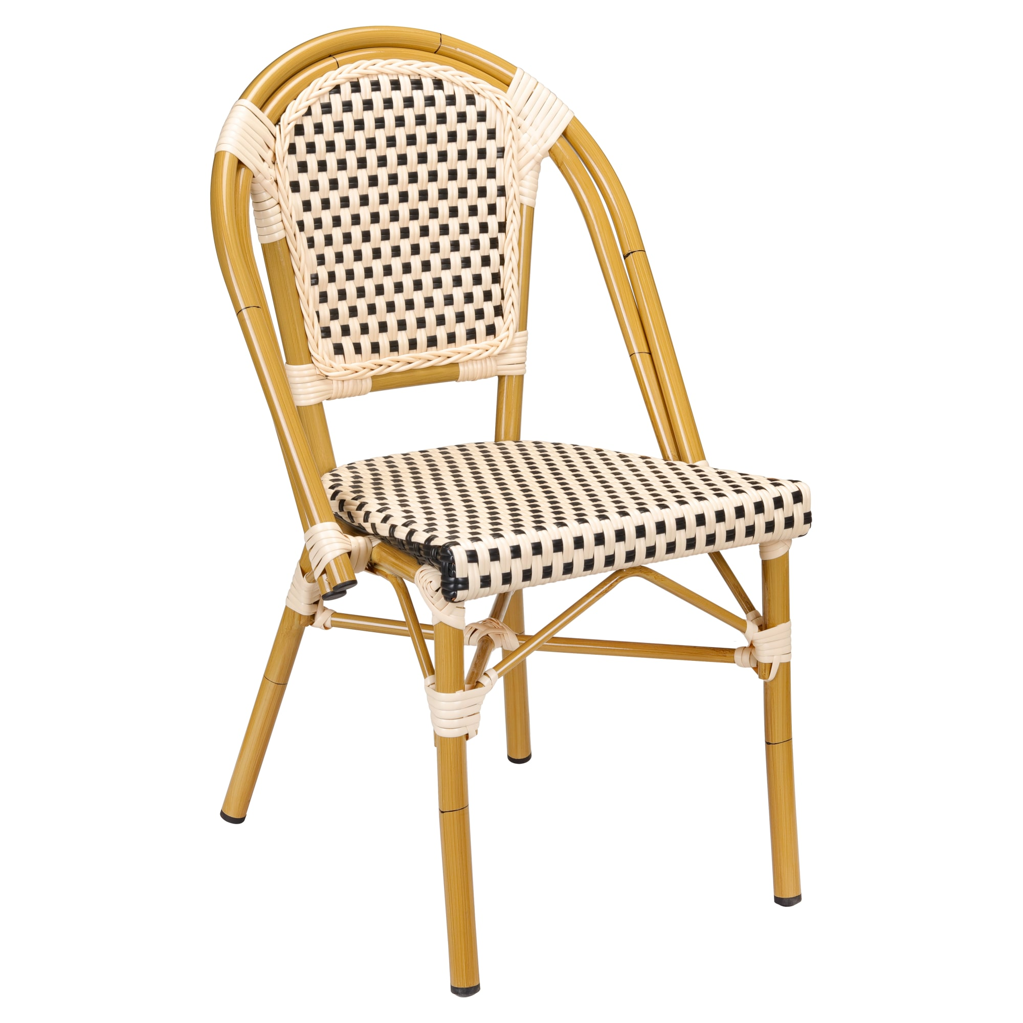 Aluminum Bamboo Patio Chair With Black & Cream Rattan
