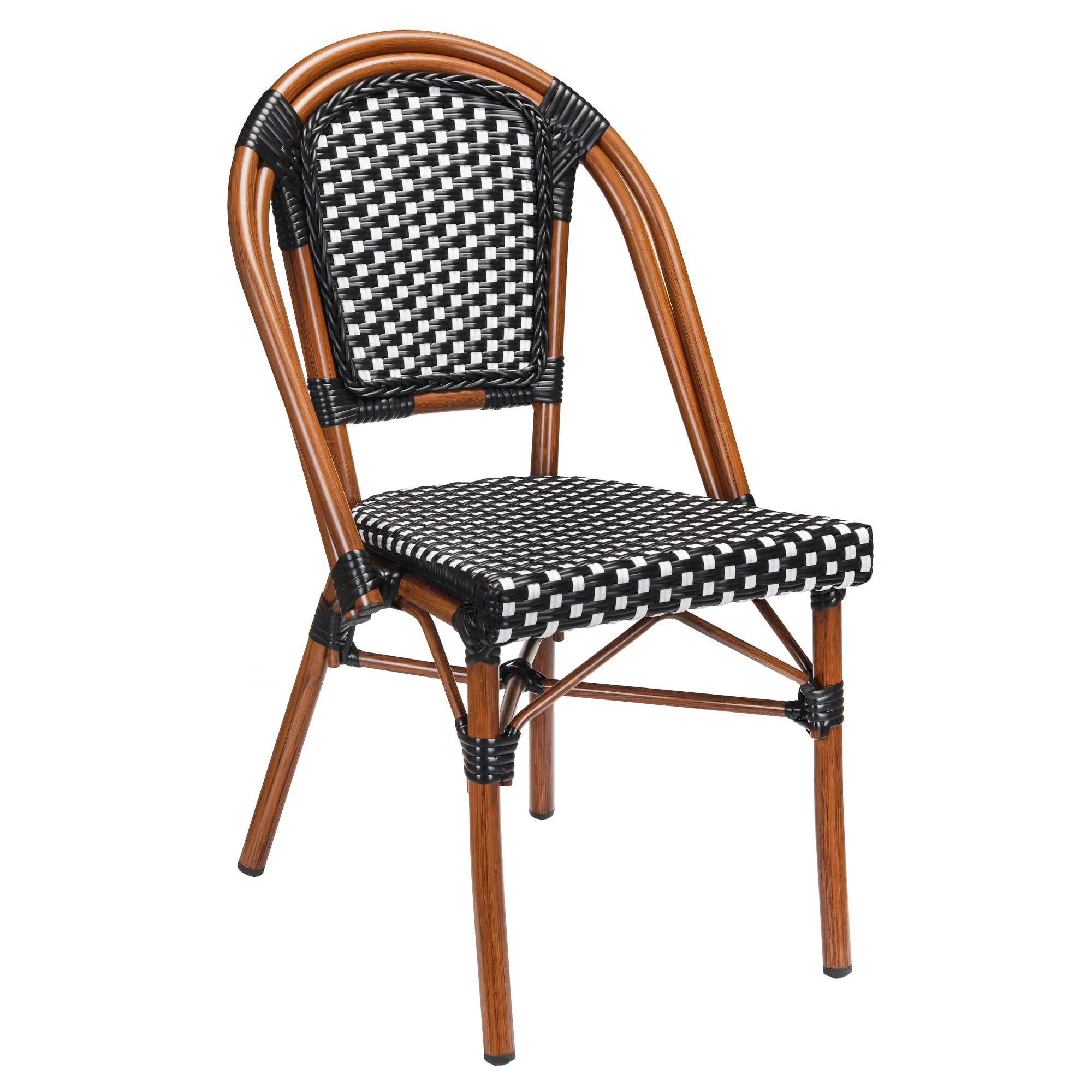 Aluminum Bamboo Patio Chair With Black & White Rattan with Aluminum Bamboo Patio Chair With Black & White Rattan