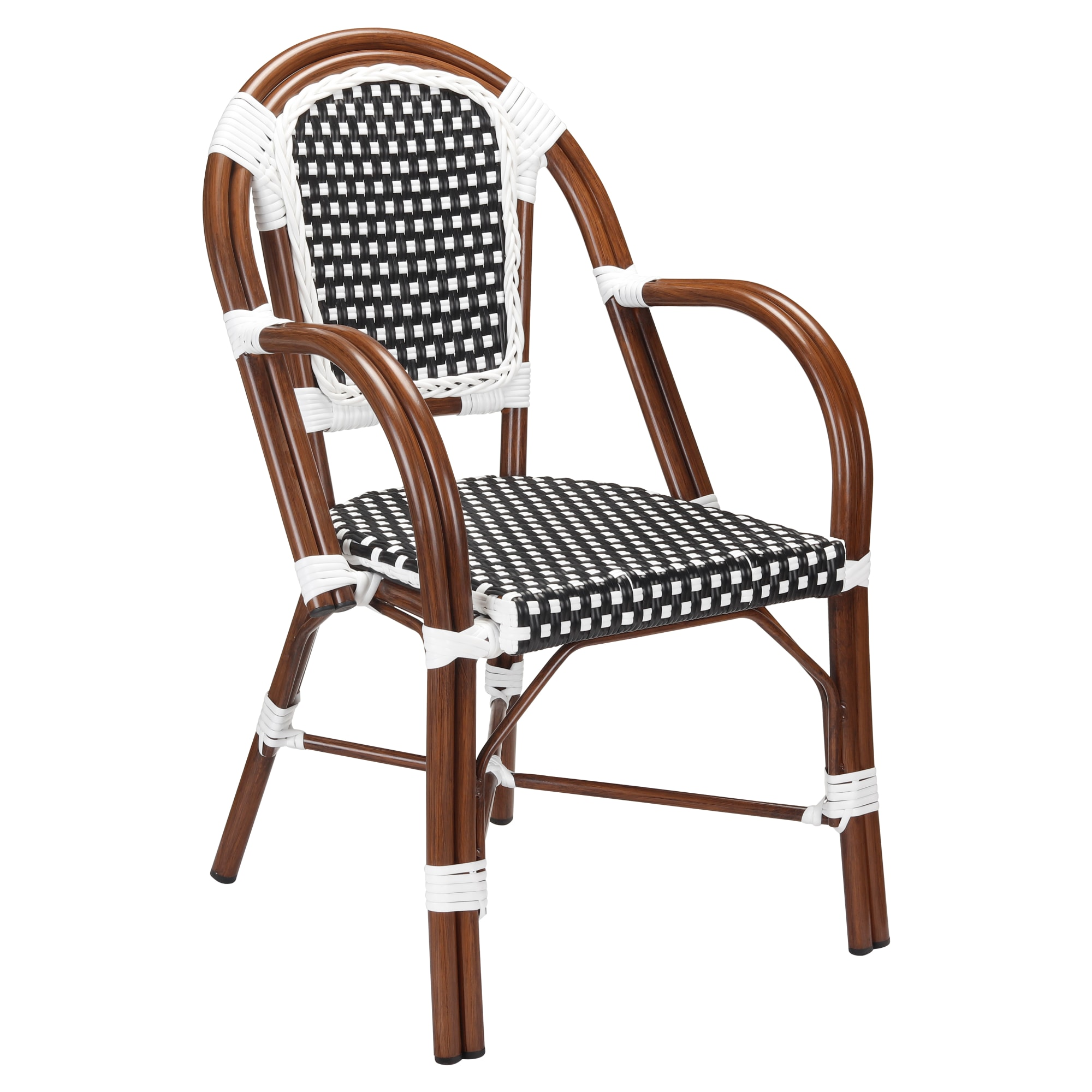 Patio Armchair With Black & White Rattan Walnut Finish