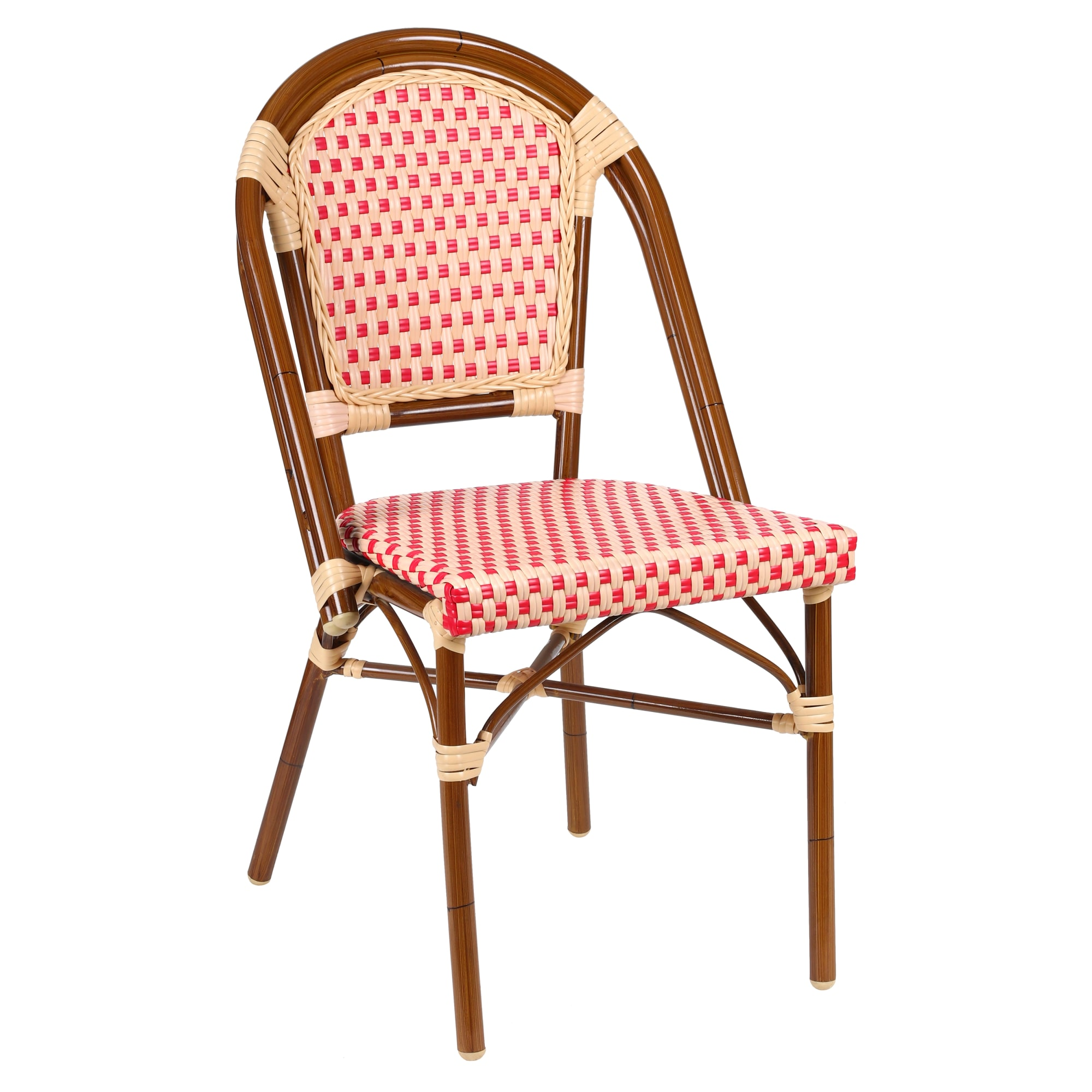 Aluminum Bamboo Patio Chair With Red & Cream Rattan with Aluminum Bamboo Patio Chair With Red & Cream Rattan
