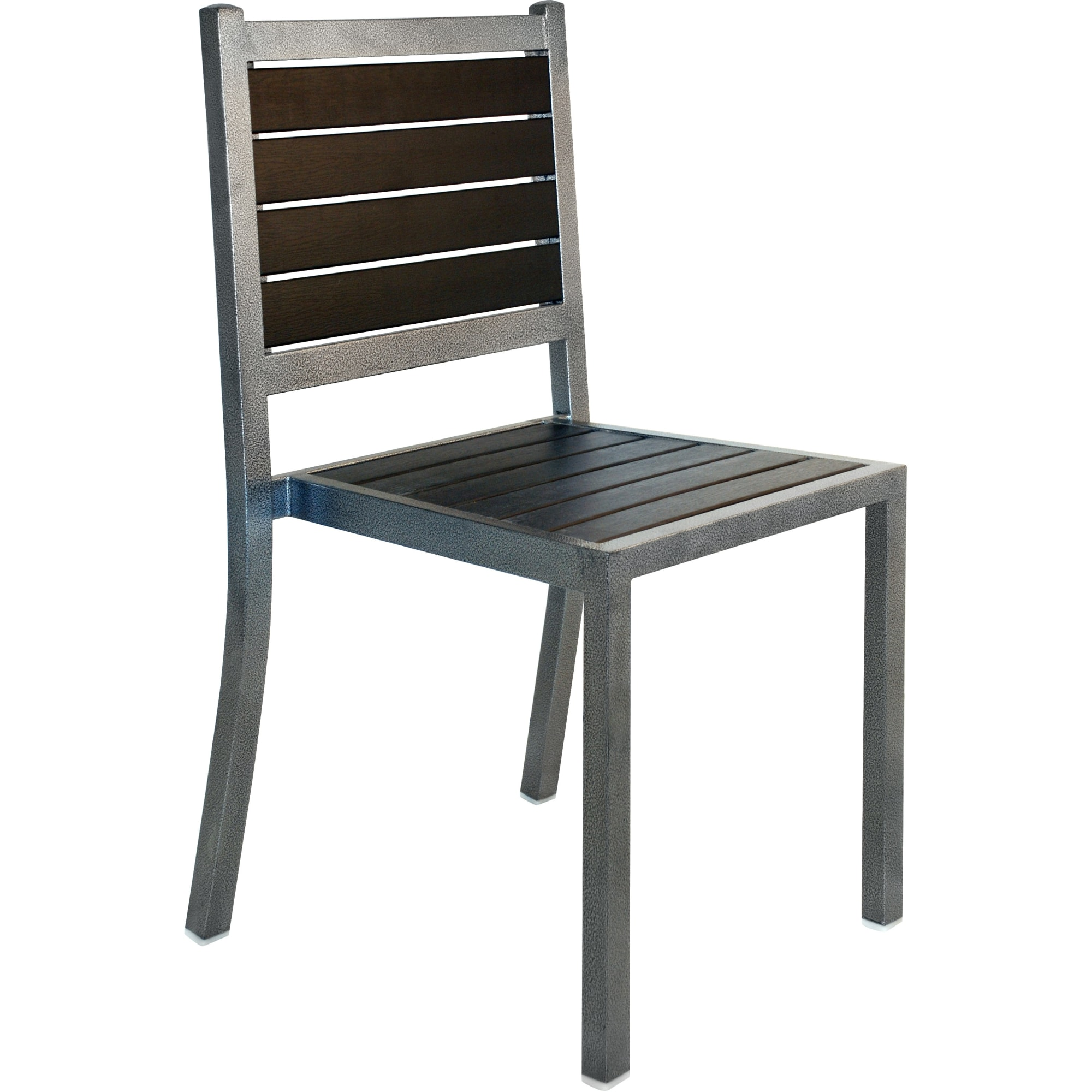 Plastic-Teak Metal Patio Chair in Silver Vein Finish