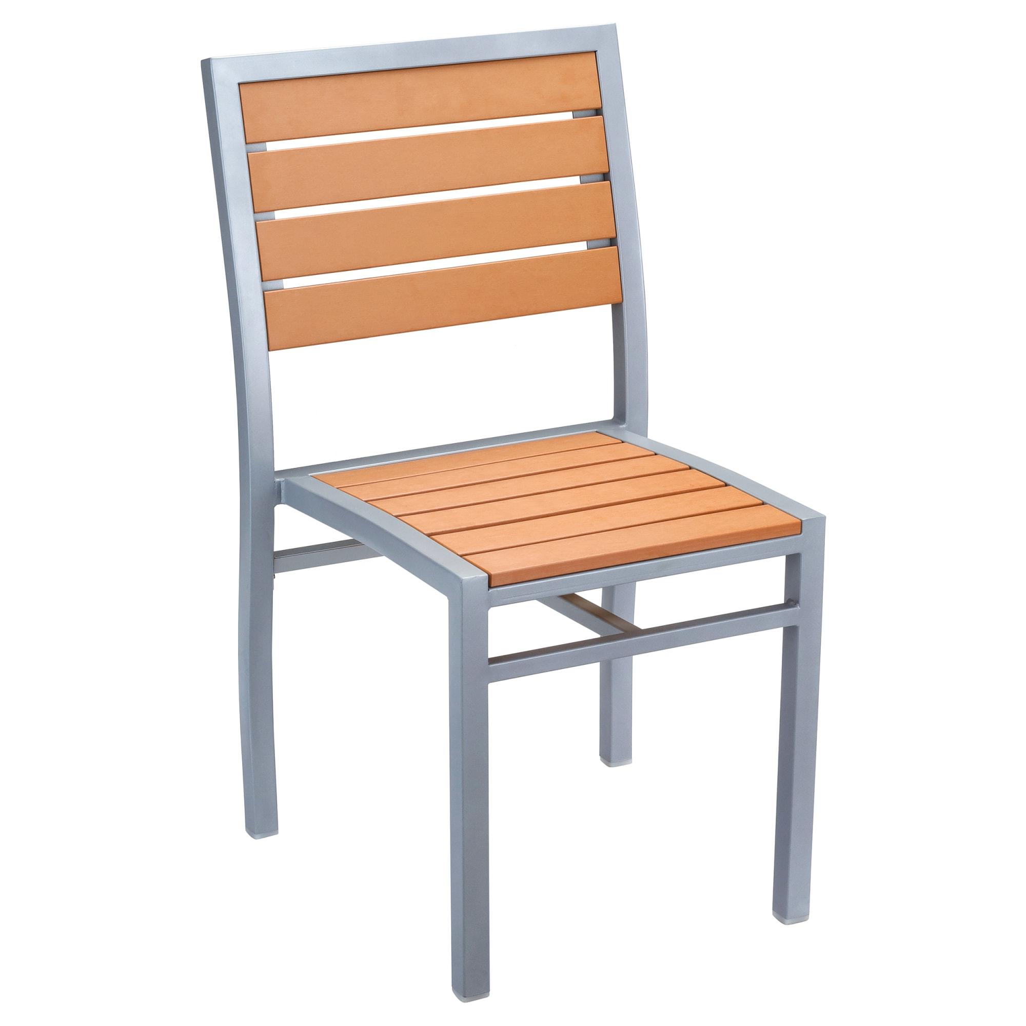 Grey Finish Heavy Duty Patio Chair with Plastic Teak with Grey Finish Heavy Duty Patio Chair with Plastic Teak