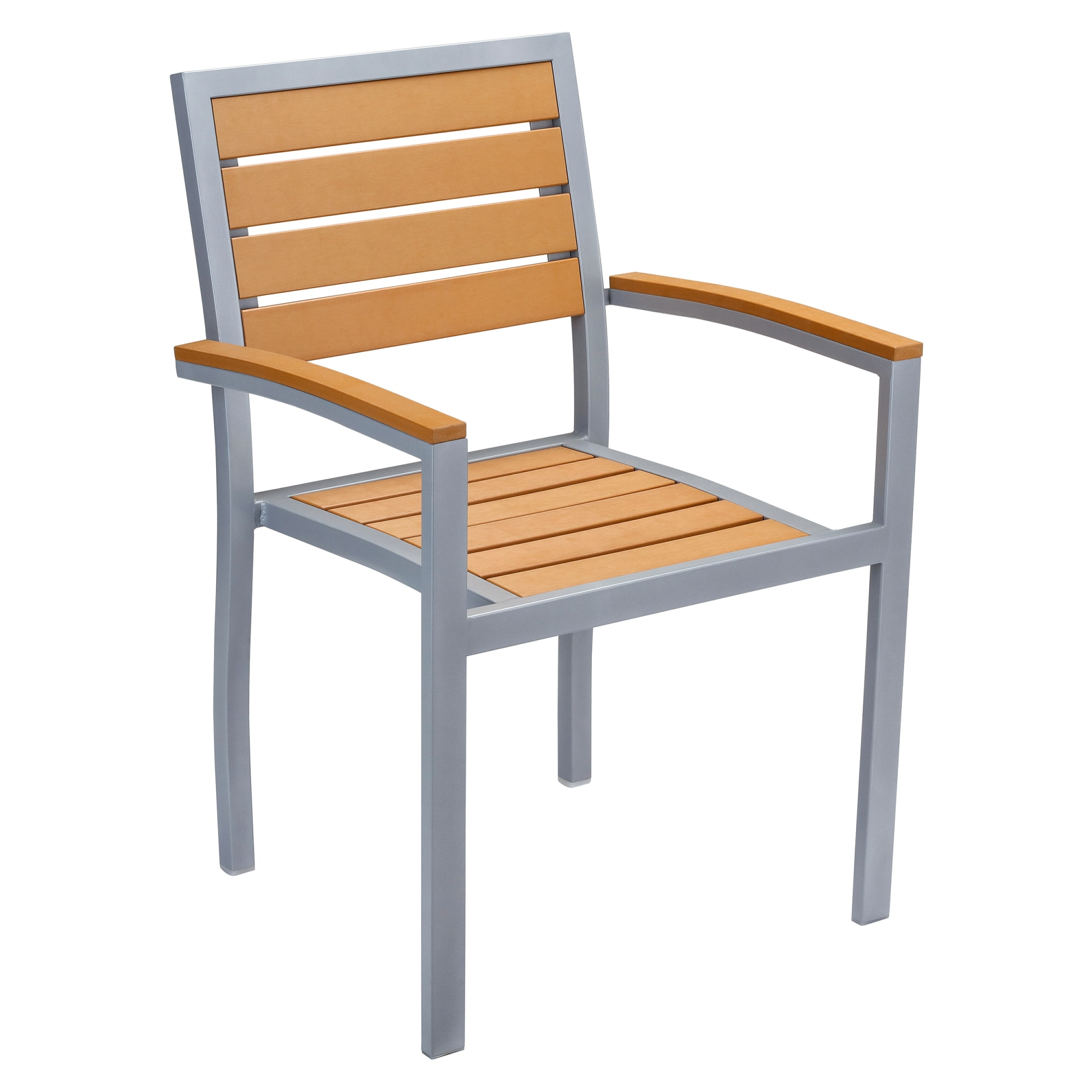 Grey Finish Aluminum Patio Arm Chair with Plastic Teak with Grey Finish Aluminum Patio Arm Chair with Plastic Teak