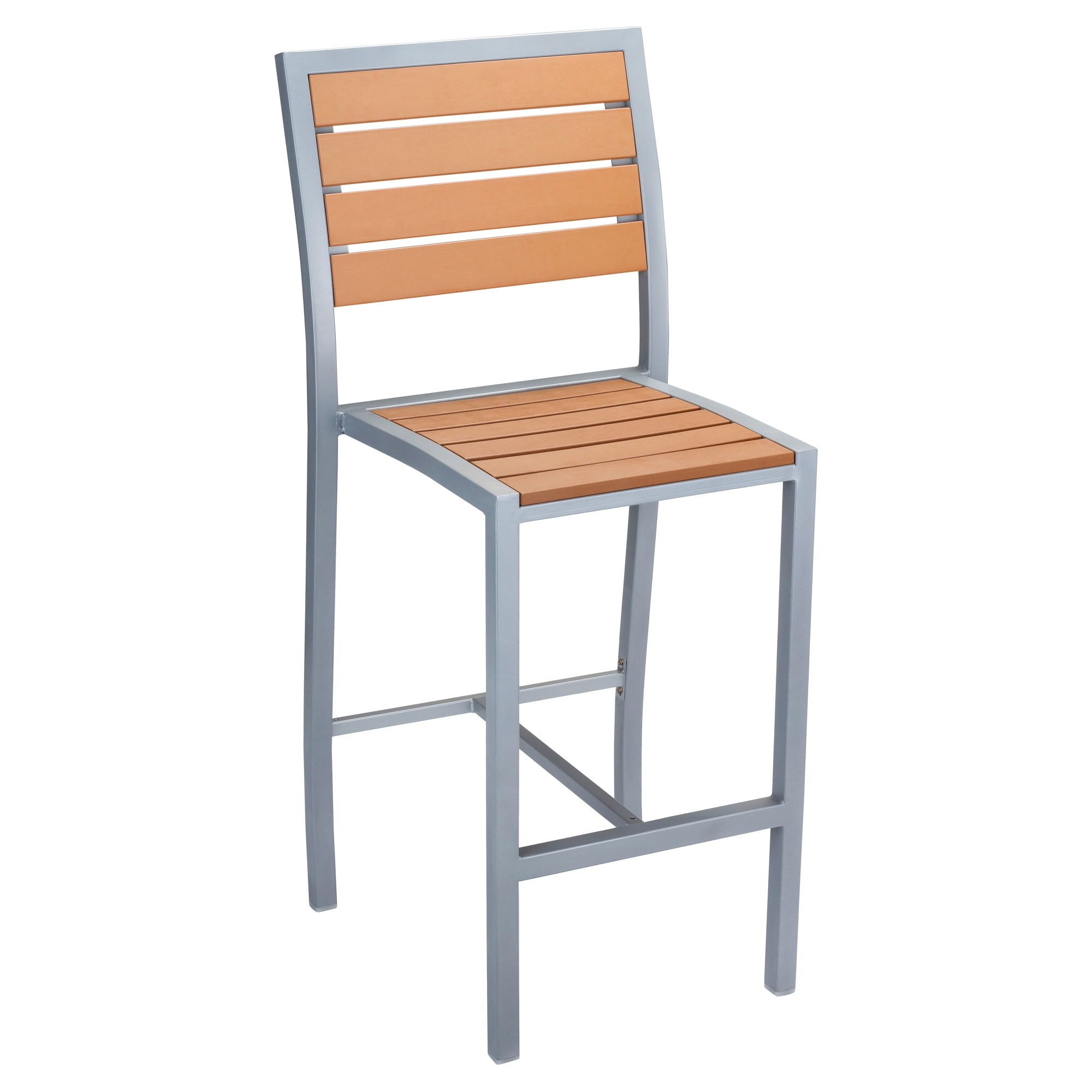 Grey Finish Heavy Duty Patio Bar Stool with Plastic Teak with Grey Finish Heavy Duty Patio Bar Stool with Plastic Teak