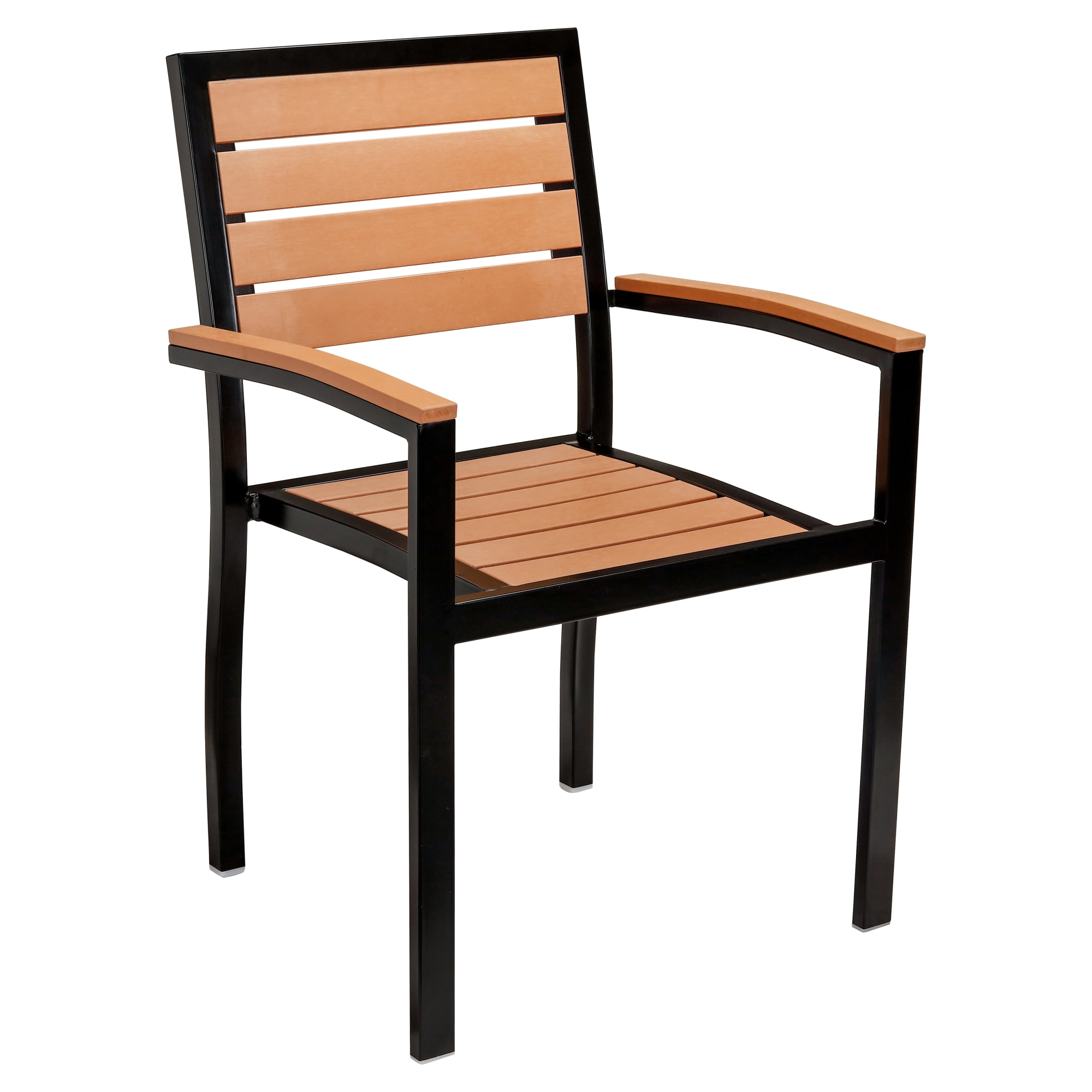 Black Aluminum Plastic Teak Patio Arm Chair with Black Aluminum Plastic Teak Patio Arm Chair