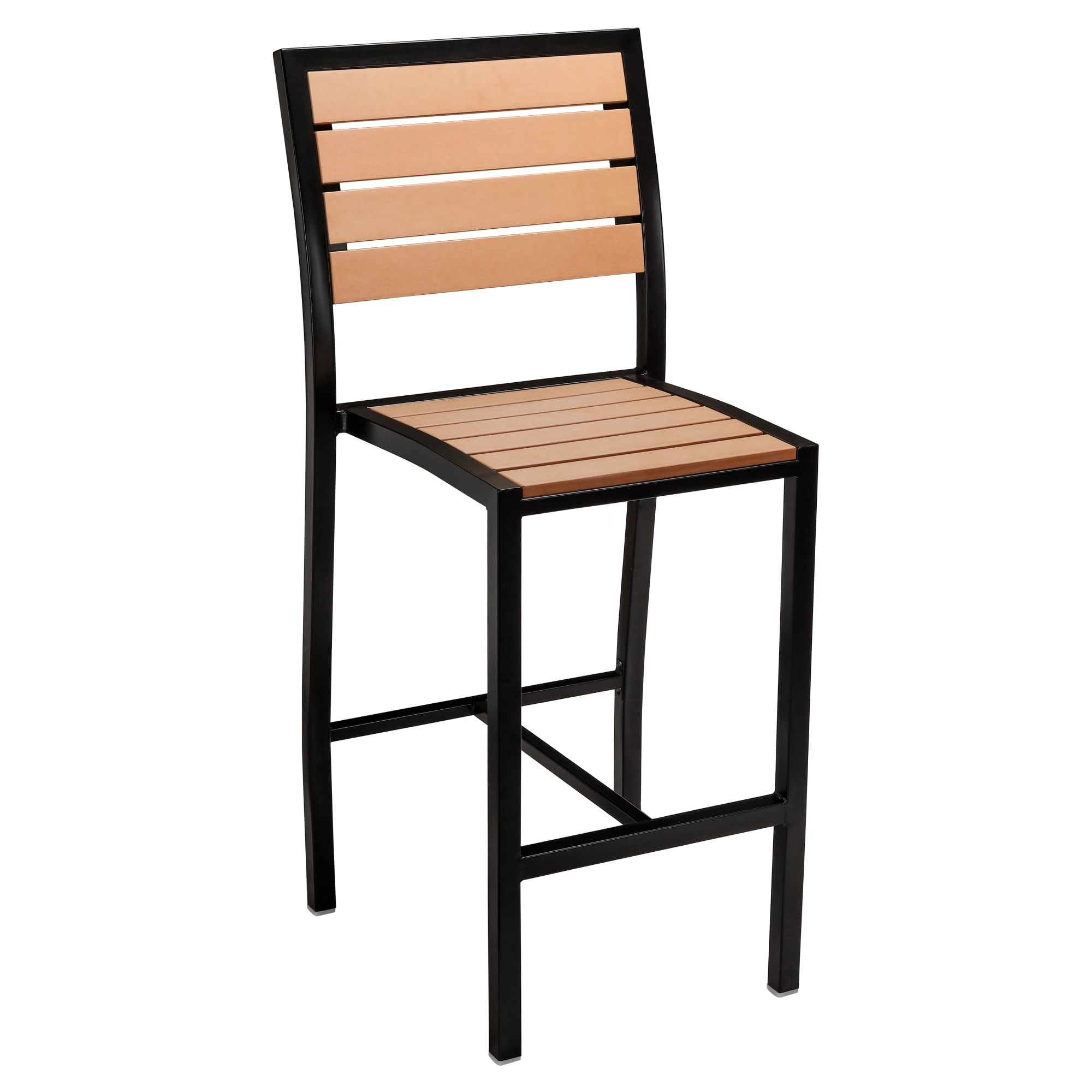 Black Heavy Duty Plastic Teak Patio Bar Stool with Black Heavy Duty Plastic Teak Patio Bar Stool