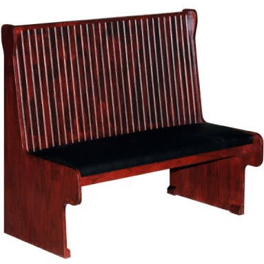 Wood Bench with Padded Seat & Bead Board Back