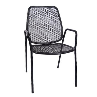 Floral Patio Chair with Armrest in Black Finish