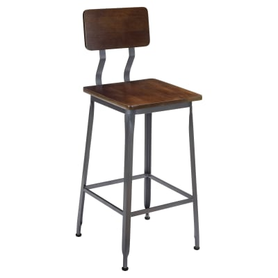 Industrial Bar Stool with Wood Seat
