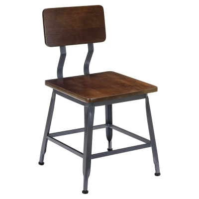 Industrial Chair with Wood Seat