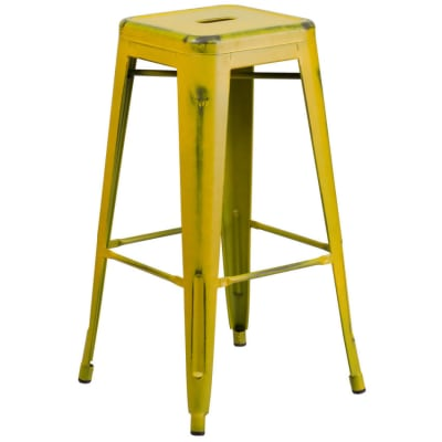 Distressed Yellow Backless Bar Stool