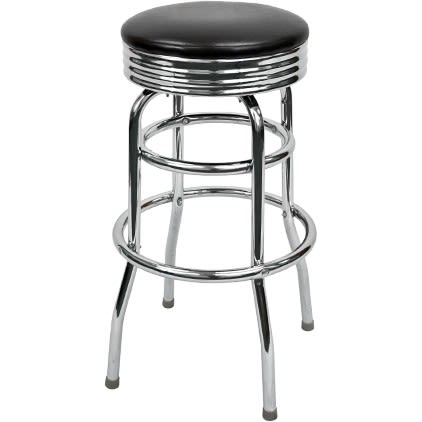 Swivel chrome bar stool with a Double Ring