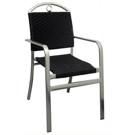 Caesar Aluminum and Black Rattan Patio Chair