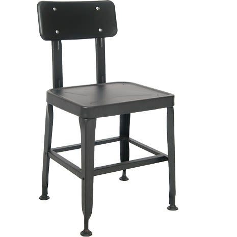 Laurie Bistro Style Metal Chair in Black Finish with Solid Seat