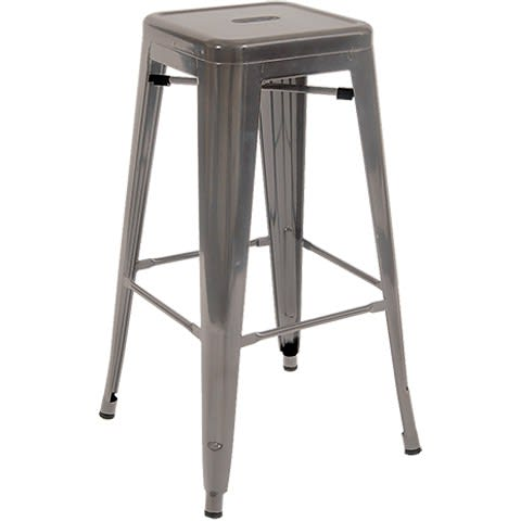 Bistro Style Metal Backless Bar Stool in Clear Finish