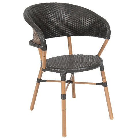 Curved Back Aluminum Patio Chair with Black Faux Wicker
