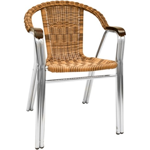 Aluminum and Wicker Patio Chair in Natural Color
