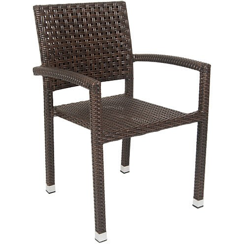 Aluminum Poly Woven Patio Arm Chair in Brown Finish