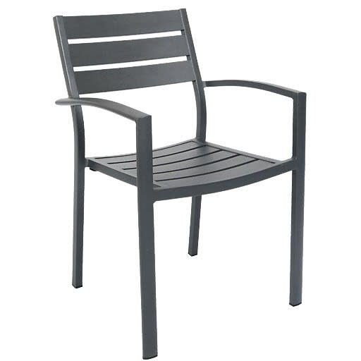 Aluminum Patio Arm Chair in Dark Grey Finish