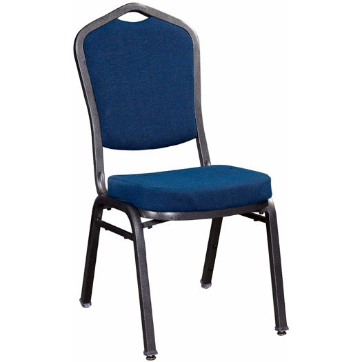 Premium Metal Stack Chair - Silver Vein Frame with Blue 2166 Fabric