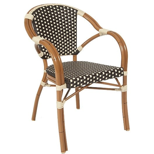Aluminum Patio Arm Chair in Walnut Finish with Brown & White Faux Wicker