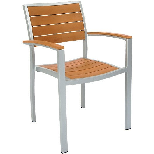 Grey Finish Aluminum Patio Arm Chair with Plastic Teak