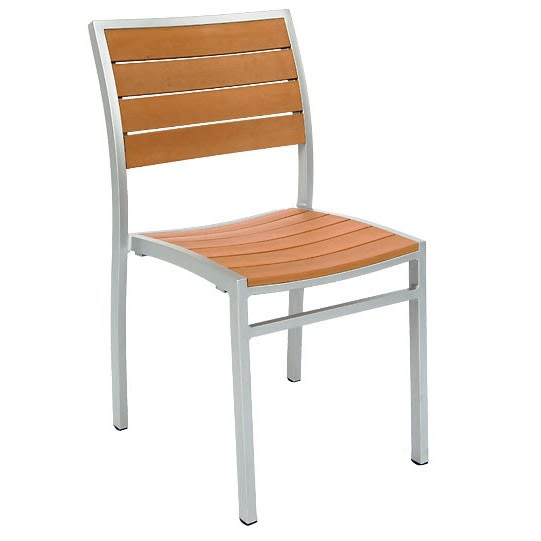 Grey Finish Aluminum Patio Chair with Plastic Teak