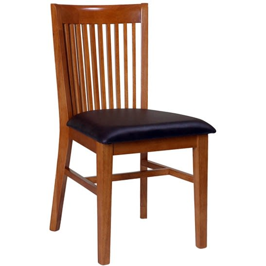Elongated Back Vertical Slat Wood Chair