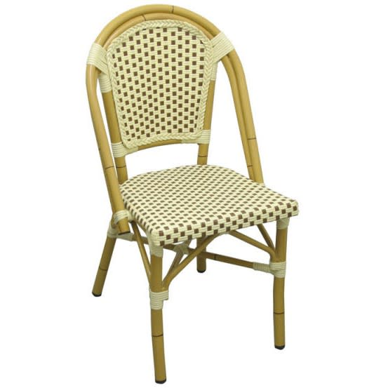 Aluminum Bamboo Patio Chair With Brown and White Rattan