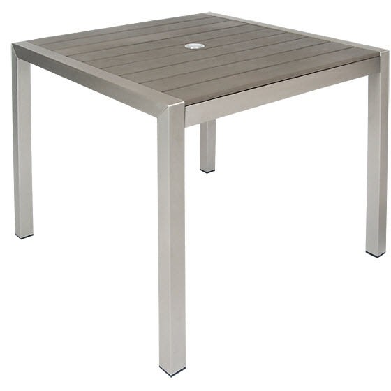 Grey Aluminum Patio Table with Dark Brown Plastic Teak Slats