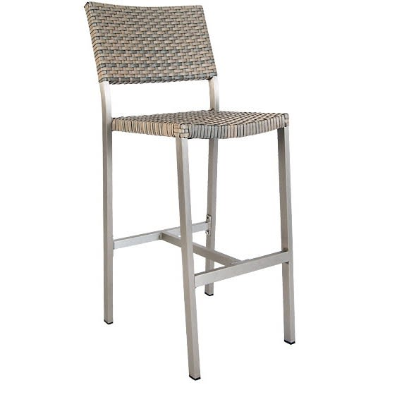 Aluminum Patio Bar Stool with Faux Rattan