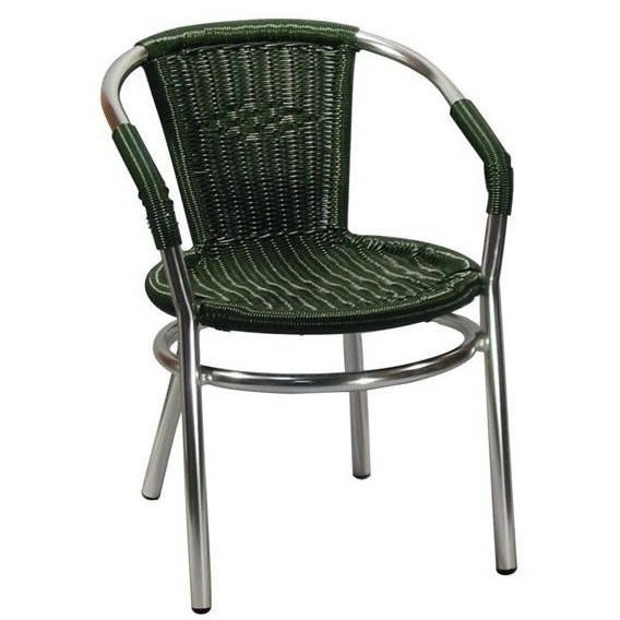 Aluminum and Green Rattan Patio Chair