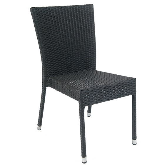 Aluminum Patio Chair with Faux Wicker in Black Finish