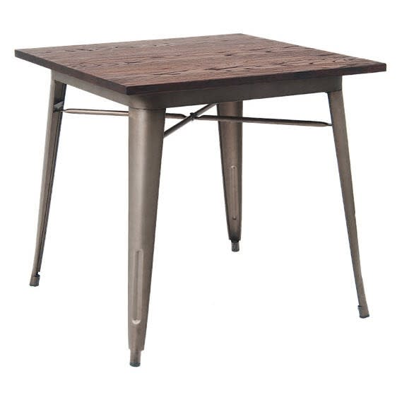 Industrial Series Restaurant Table in Dark Grey Finish and Wood Top