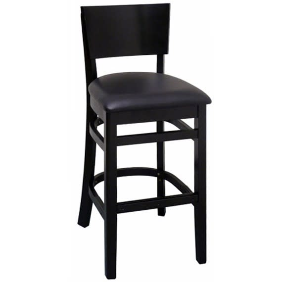 Curved Back Wood Restaurant Bar Stool