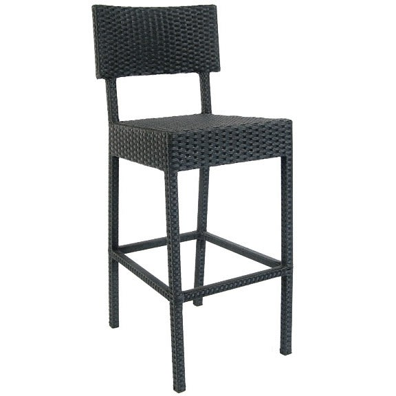 Aluminum Patio Bar Stool with Faux Wicker in Black Finish