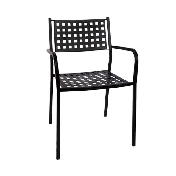 Matrix Back Patio Chair with Armrest in Black Finish