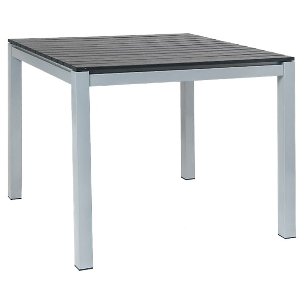 Grey Aluminum Table With Black Plastic Teak Slats