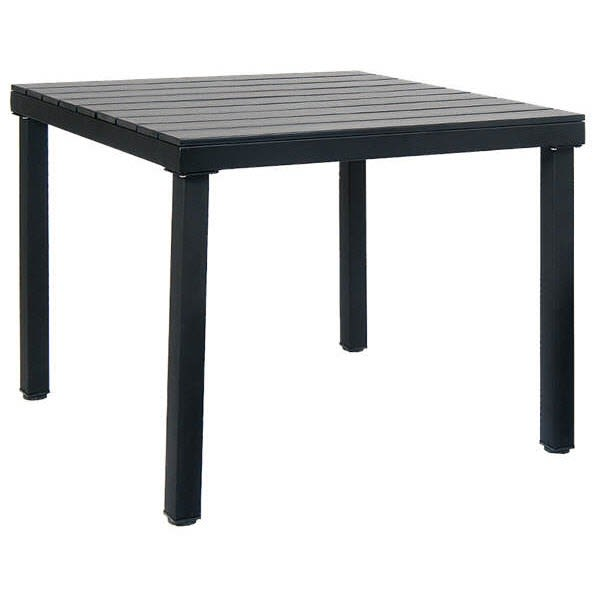 Table with Black Metal Frame and Black Finish Plastic Teak Top