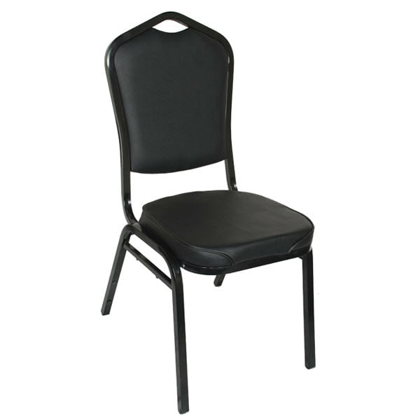 Metal Stack Chair - Black Frame with Black Vinyl
