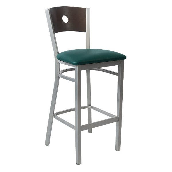 Silver Metal Bar Stool with a Circled Back
