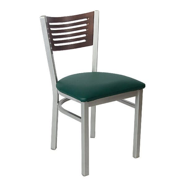 Silver Metal Chair with 5 Slats