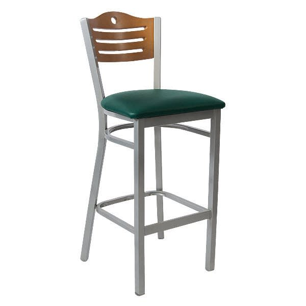 Silver Metal Bar Stool with Circle & 3 Slats in Back