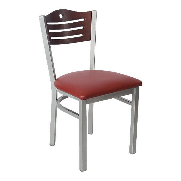 Silver Metal Chair with Slats & Circle