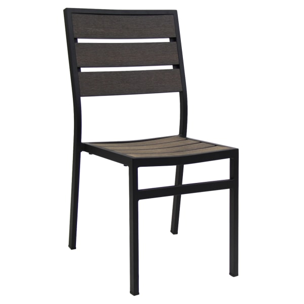 Metal and Faux Teak Patio Chair