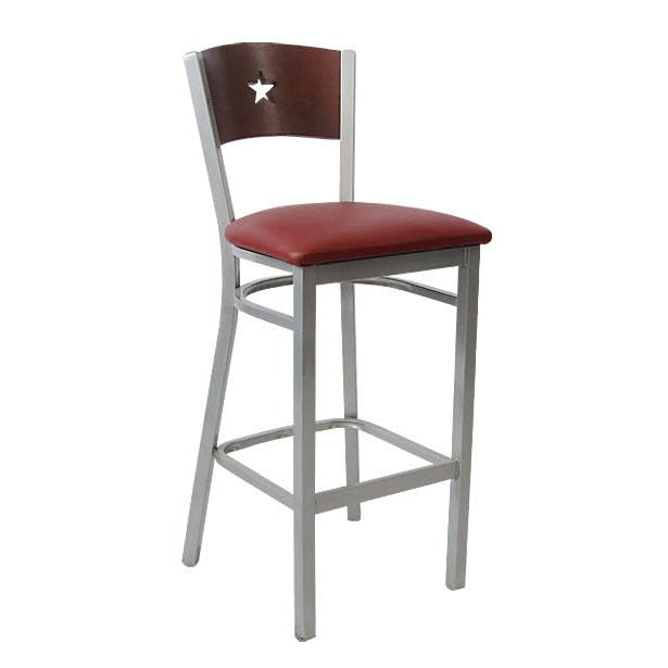 Silver Interchangeable Back Metal Bar Stool with a Star in the Back