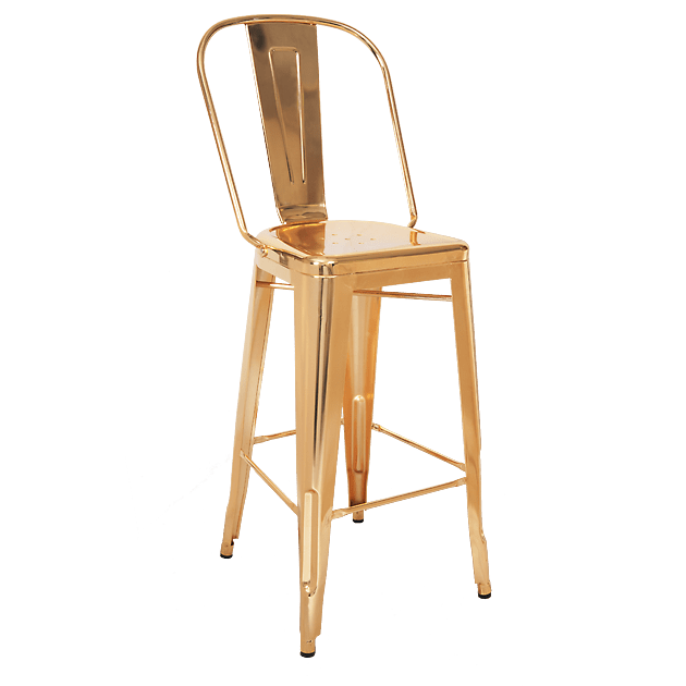 Bistro Style Metal Bar Stool in Gold Finish
